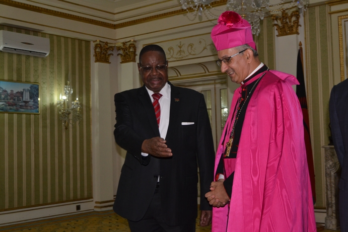Pope Francis Ambassador Archbishop Gianfranco Gallone  Presents Credentials to Mutharika